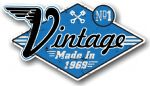 Retro Distressed Aged Vintage Made in 1969 Biker Style Motif External Vinyl Car Sticker 90x50mm